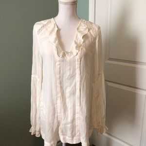 FREE PEOPLE cream colored blouse size XS